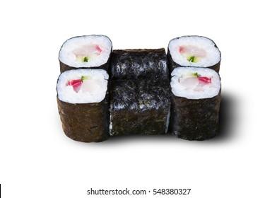 Japanese rolls, white background, isolated