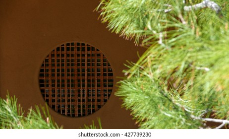 Japanese round window with pine tree in the foreground