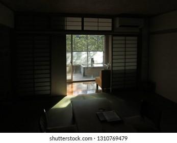 Japanese ryokan room and onsen bathtub