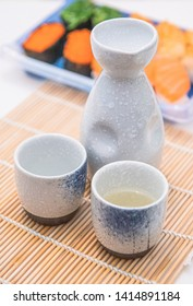 Japanese sake and Assorted Sushi, Sake is a traditional Japanese liquor that is Widely popular