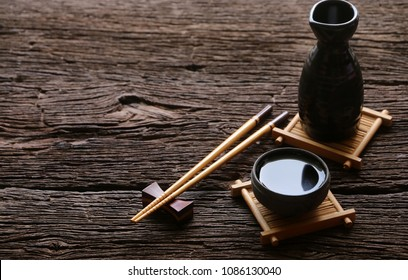 japanese sake and chopsticks oriental drink style on the table