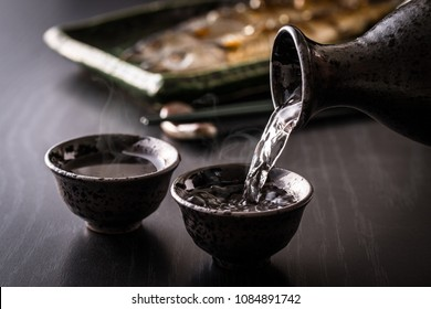 Japanese sake and Pacific saury