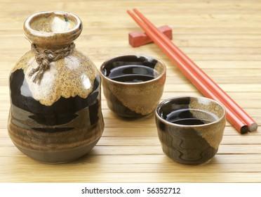 Japanese Sake set on bamboo