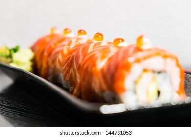 Japanese salmon roll on plate