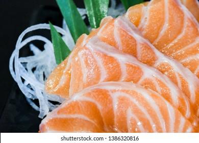 Japanese Salmon Sashimi close-up macro shot