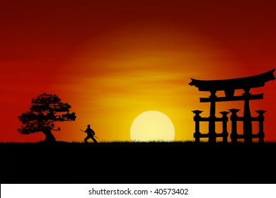 Japanese Samurai fighter silhouette during perfect sunset.