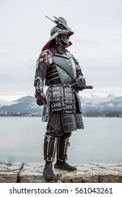Japanese Samurai at  Itsukushima Shrine , Icon of Japan