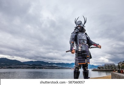 Japanese Samurai at Itsukushima Shrine , Icon of Japan. King of japan