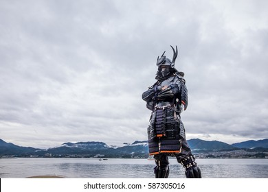 Japanese Samurai at Itsukushima Shrine , Icon of Japan.