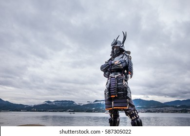 Japanese Samurai at Itsukushima Shrine , Icon of Japan.