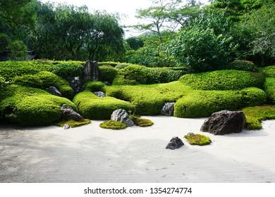 Japanese sand garden at Fugenzan Meigetsu-in (also known as  Ajisaidera or Ajisai Temple), Kamakura, Kanagawa, Japan