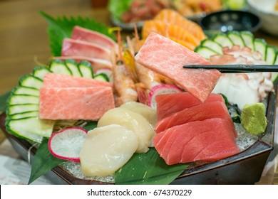 Japanese sashimi mixed set, focus on otoro