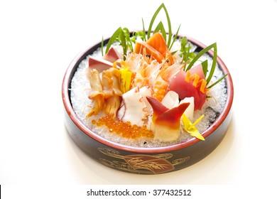 Japanese Sashimi Set , Raw Sliced Seafood Set Mix