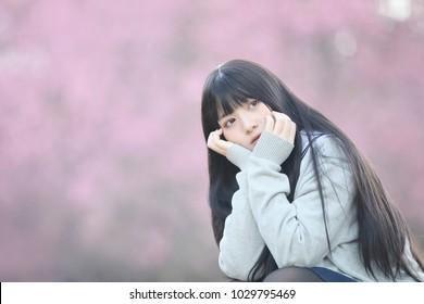 Japanese school girl dress with sakura flower nature walkway