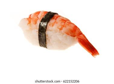 Japanese seafood sushi with shrimp, on white background