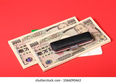 Japanese seal and bankbook and japanese yen note
