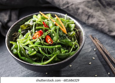 Japanese seaweed salad in a bowl
