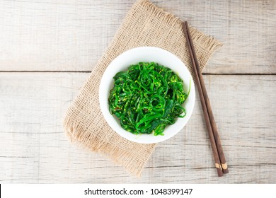 Japanese seaweed salad wakame in a white bowl