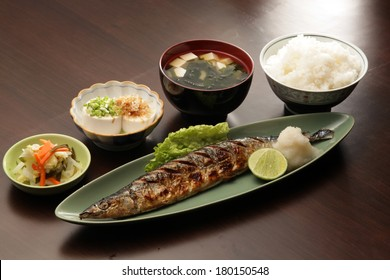 Japanese set meal with saba grille