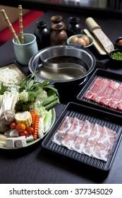 Japanese Shabu-Shabu Set , Sukiyaki , sliced meat , Food menu