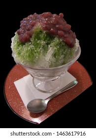 Japanese shaved ice with beans cold kaki gori.