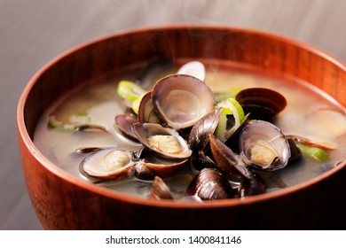Japanese shijimi clam miso soup