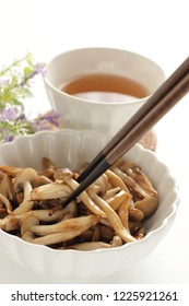 Japanese Shimeji mushroom stir fried for vegan food image