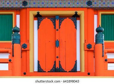 Japanese Shinto temple door, close up detail.