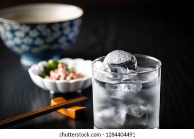 Japanese shochu on the rocks