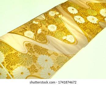 Japanese Silk fabric kimono obi cloth