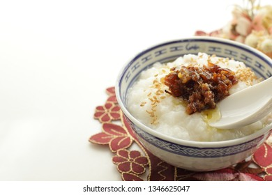 Japanese simmered beef on rice congee