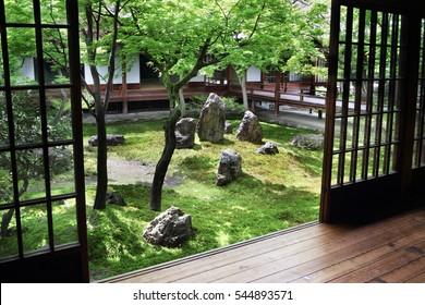 Japanese sliding door in a zen garden