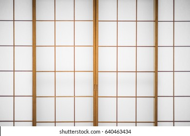 Japanese sliding paper door with real wooden frame.