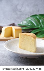 Japanese souffle cheesecake with dull background