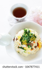 Japanese spring vegetable, Nanohana and beef fried rice