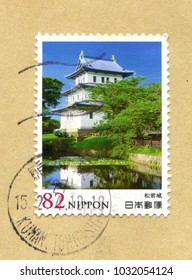 Japanese stamp no circa date: A stamp printed in Japan shows Matsumae Castle, Hokkaido, Japan.