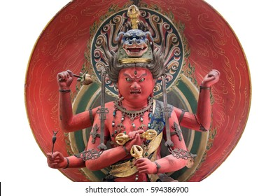 A japanese statue of the King of light, has the power to crush desire and free the believer from lust. has a lion headdress