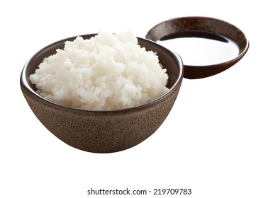 japanese steam rice on white background