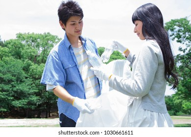 Japanese students to the clean-up activities