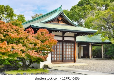 Japanese style architecture scenery in autumn.