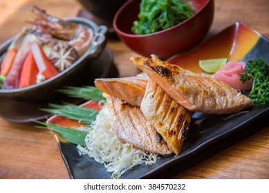 Japanese style food set , Grilled salmon with soup