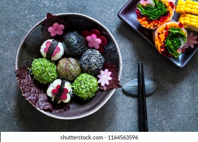 Japanese style  lunch with onigiri rice balls