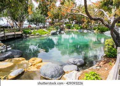 Japanese style medium pond with rocks around and bridge across