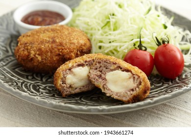 japanese style mincemeat croquette with cheese