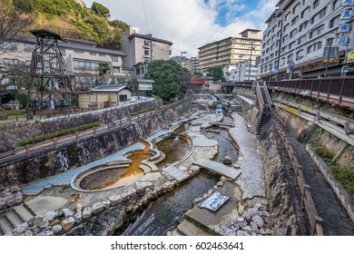 Japanese style public park with hot spring in Arima Onsen city, Kobe, Japan
