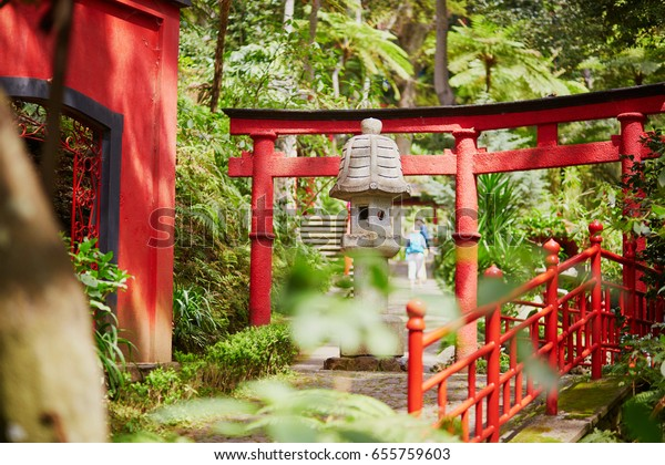 Japanese Style Red Gates Monte Tropican Stock Photo Edit