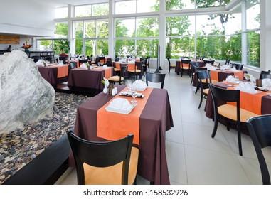"Japanese style restaurant ""Maiko"" Interior at the luxury caribbean resort. Bahia Principe, Riviera Maya."
