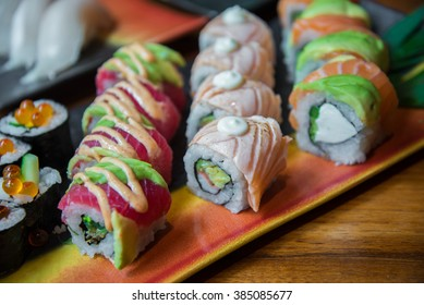 Japanese style roll sushi with salmon and tuna fish