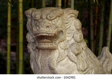 Japanese style stone lion