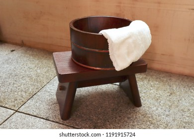 Japanese style wooden bath bucket and chair